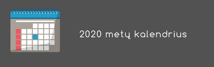 2020 metu kalendorius naujas