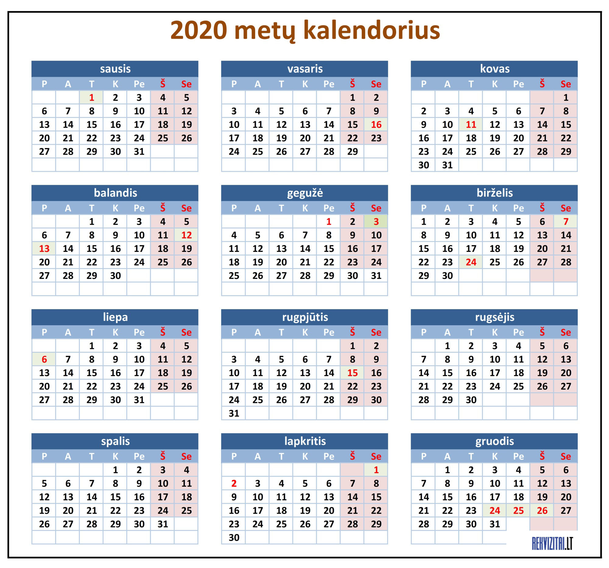 2020 metu kalendorius