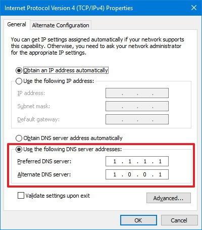 cloudflare 1111 dns serveriai windows10