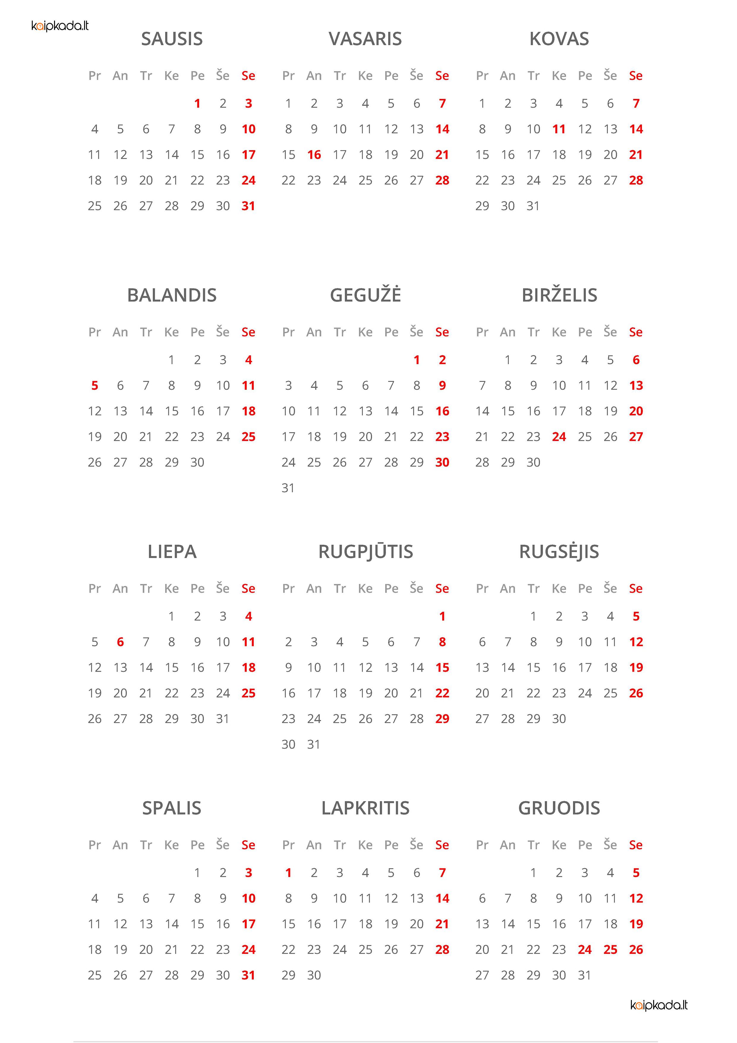 2021 metu kalendorius