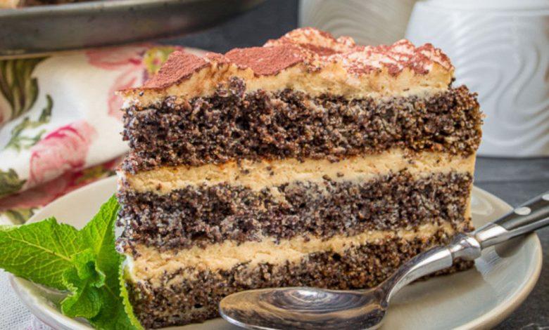 Aguonų pyragas su kavos kremu