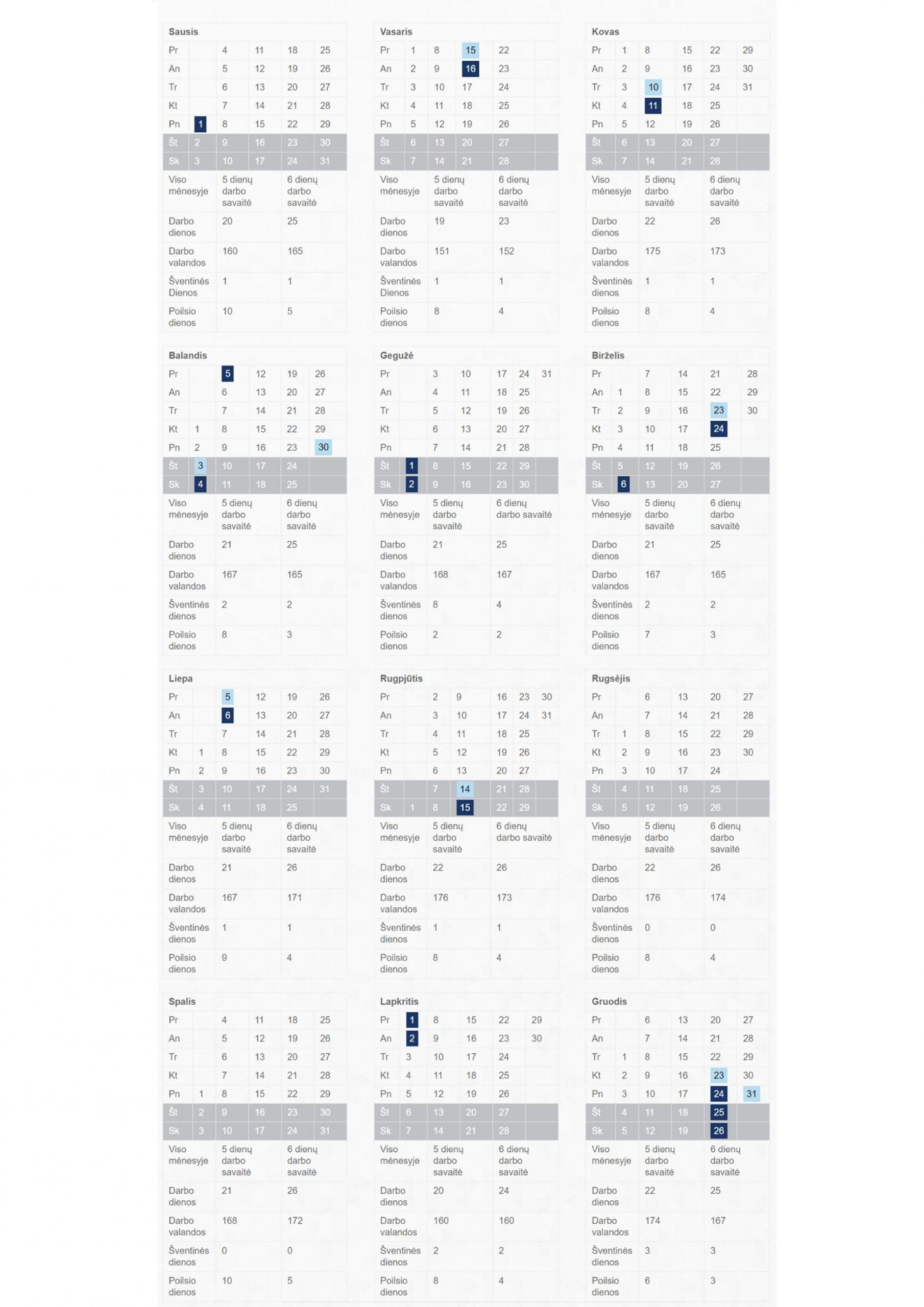 Darbo laiko apskaitos kalendorius
