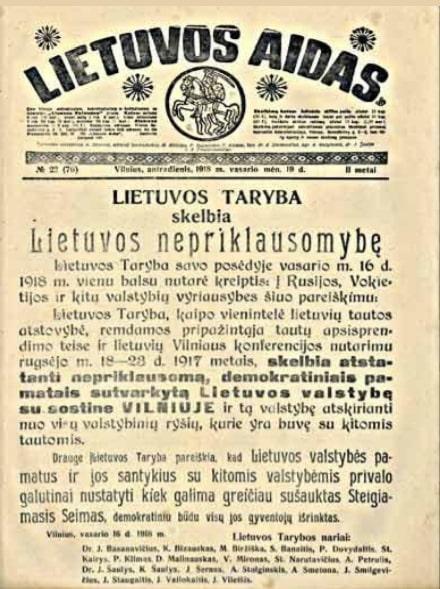 Lietuvos Aidas Lietuvos Taryba skelbia NEPRIKLAUSOMYBE min