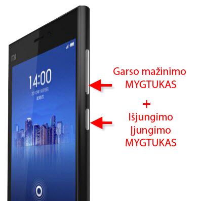 ekrano nuotrauka xiaomi su mygtukais