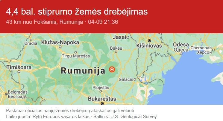 zemes drebejimas Rumunijoje
