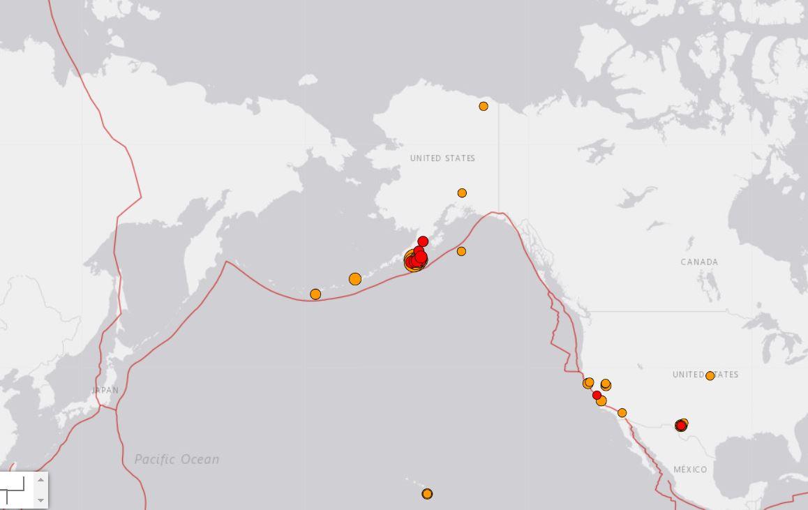 Zemes drebejimas Aliaskoje epicentras